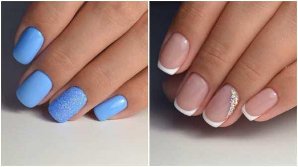Маникюр круглая форма ногтей бело синий